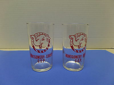 Vintage Republican Elephant G.o.p. Drinking Glasses Montgomery County