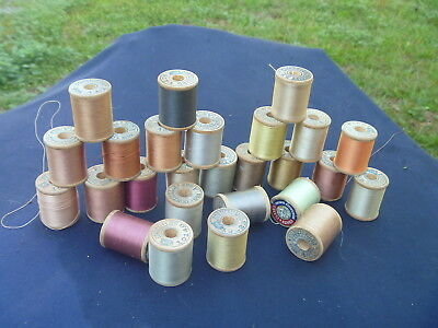 60 Vintage Corticelli Silk Thead Wood Spool Lot Beautiful Muted Colors