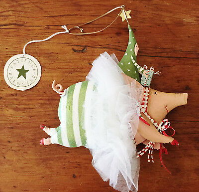 """Early XL 8"""" PATIENCE BREWSTER Christmas ornament JOYFUL FLYING PIG pre Dept 56"""