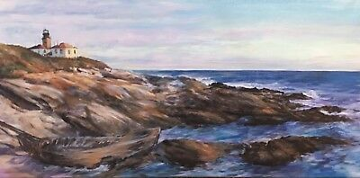 BEAVERTAIL LIGHTHOUSE PAINTING Signed BY ARTIST M T