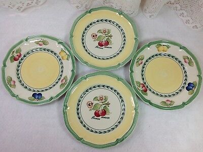 """Villeroy Boch French Garden Fleurence 4 Bread Plates 6.75"""" Germany EXCELLENT!"""