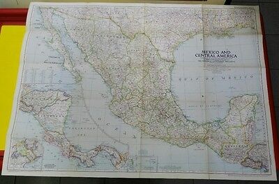 map National Geographic MEXICO and CENTRAL AMERICA 1953 94 x 69 cm.