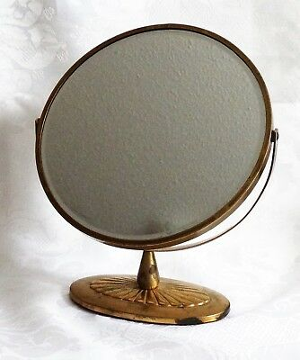 Art Deco Antique Mirror Swivel Swing Dresser Table Top Beveled Brass Boudoir