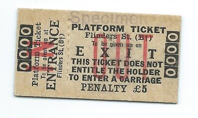 Unusual FLINDERS ST Platform Ticket: Includes Penalty & Large 'OUT'