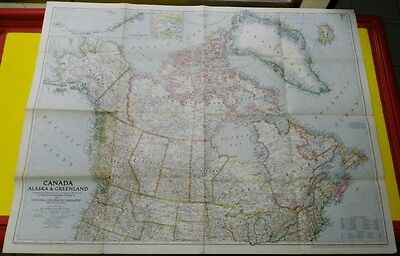 map National Geographic CANADA ALASKA & GREENLAND 1947 1: 8,000,000