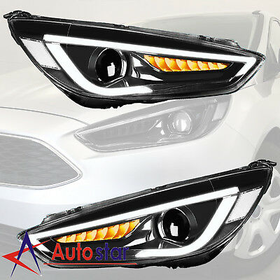 2pcs For 2017 2016 Ford Focus Headlight Led Drl Halo Projector Lamp Lh Rh