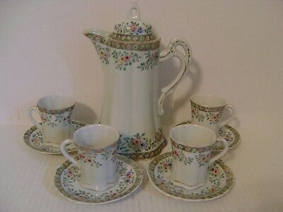 Vintage Japanese Hand Painted Floral Chocolate Set With Four Cups And Saucers