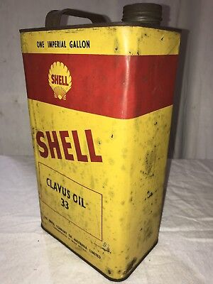 Shell Oil Can One Gallon -Vintage Shell Clavus Oil 33 Tin One Gallon