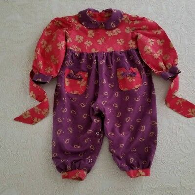 Vintage Baby Girl Romper One Piece Outfit Childrens Clothes Pink Purple Floral