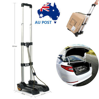 Portable Luggage Cart Folding Hand Truck Travel Shopping Trolley w/ Bungee Cord
