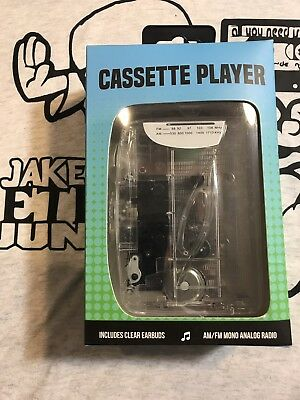 Cassette Player Music On The Go AM/FM Radio Clear Earbuds Auto Stop 3 Key