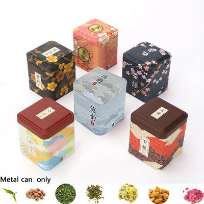 Vintage Floral Sealed Container Iron Square Boxes Herb Stash Jar Metal Tin Cans