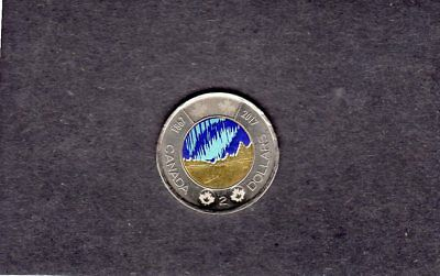 """2017 Canada """"northern Lights"""" Toonie {Glows In The Dark} Have A L@@@@k"""