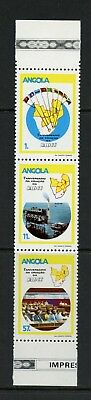 Angola 1985 #704A minerals oil drilling conference maps strip MNH M494