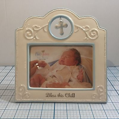 "NIB NAT & JULES ""Bless This Baby"" Porcelain Keepsake Frame: Blue - Baby Blessing"