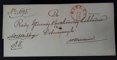 RARE Undated Poland Pre-stamp Folded Cover sent from Kielce to Warsaw