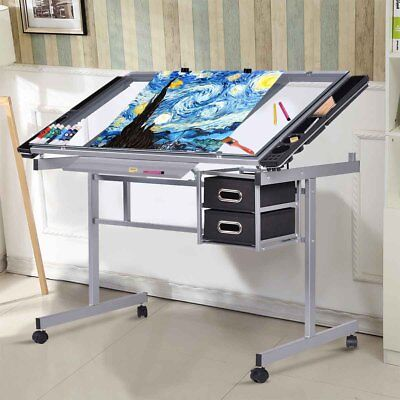 Adjustable Drawing Desk Drafting Table Craft Art Tilt Castors Handy Side Storage