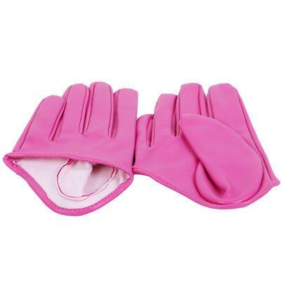 Full Finger Gloves Faux Leather Mittens Red Half Palm Faux Leather PU Short OE