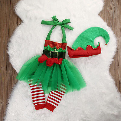 US XMAS Newborn Baby Girl Elf Romper Tulle Dress Leg Warmers Hat 3pcs Outfit Set
