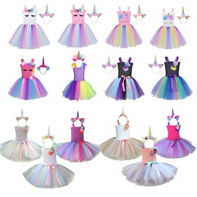 Girls Cartoon Rainbow Tutu Dress Toddler Kids Princess Outfit Party Costume