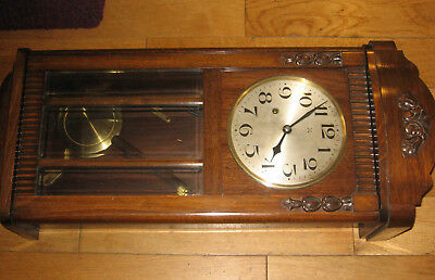 Two Vintage Wooden Case Wall Clocks With Pendulum & Key good cond