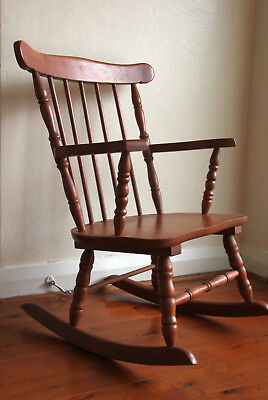 Vintage Child's Timber Rocking Chair Colonial Style, Sturdy Frame, Pick Up 2117.