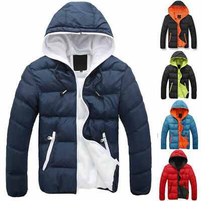Men Winter Hooded Thick Padded Jacket Zipper Slim Outwear Coat Warm Outwear Coat