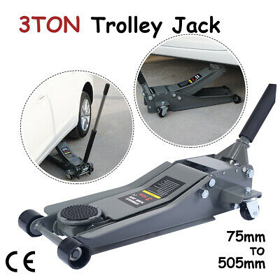 3Ton Ultra Low Profile Hydraulic Car Trolley Floor Jack Dual Quick Lift Pump SUV