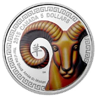 2015 $5 Canadian Lunar Sheep - Silver Coloured Proof coin - Royal Canadian Mint