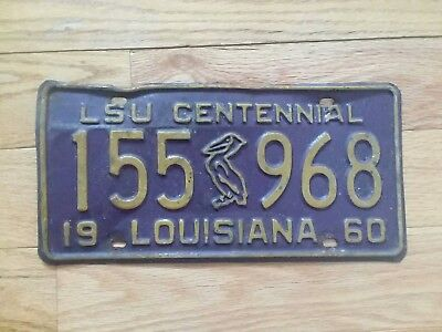 1960 Louisiana Lsu Centennial License Plate