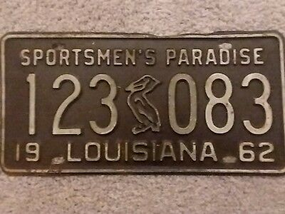 Vintage 1962 LOUISIANA Pelican License Plate