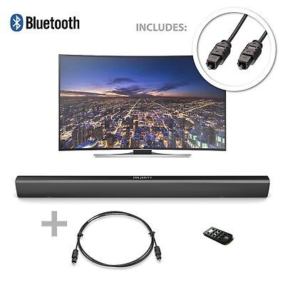 Majority 120W TV Sound Bar with Bluetooth 2 Channel + Optical Cable Bundle