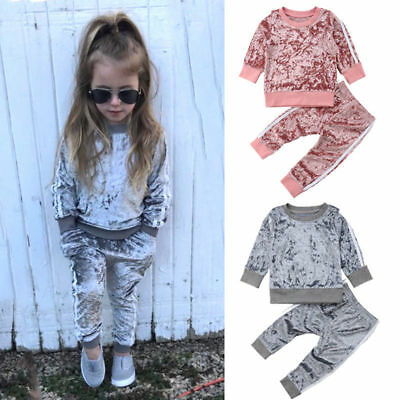 Toddler Kids Baby Girls Velvet Tracksuit T-shirt Tops +Pants Outfits Set Clothes
