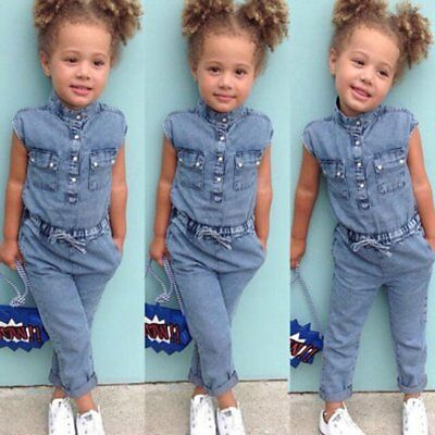 Toddler Baby Kids Girl Summer Denim Romper Bodysuit Jumpsuit Outfit Clothes 1-6Y