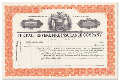 Paul Revere Fire Insurance Company Stock Certificate