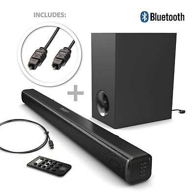 Majority TV 140 Watt Sound Bar Subwoofer with Bluetooth Audio + Optical Cable