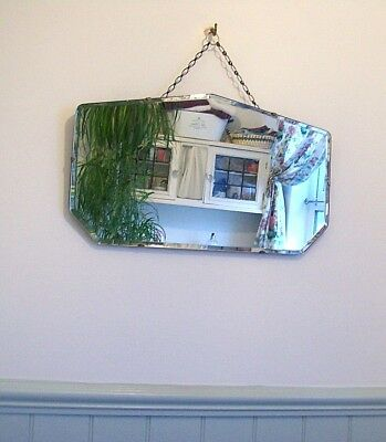 Vintage Bevelled Edge Antique Wall Mirror 30s 40s Shabby Chic, Retro Art Deco