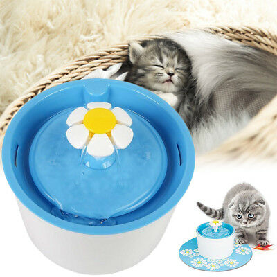 Automatic Electric Flower Pet Cat Dog Water Drinking Fountain Bowl Filter 1.6L