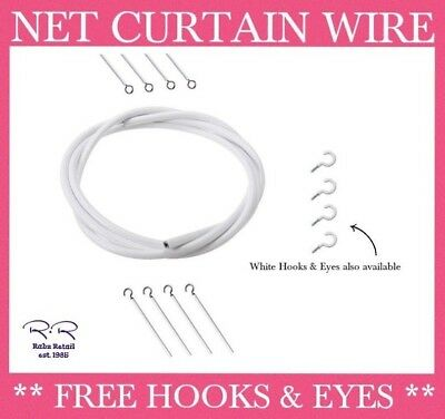 Net Curtain Wire Line Including FREE HOOKS & EYES Hanging Wires / per metre