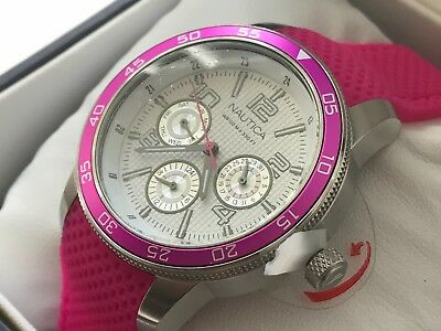fe110fded93e Nautica Nct405-A15634M Womens Quality Sailing Chrono Multi Function Pink  Watch