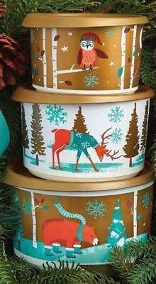 Tupperware Christmas canisters set of 3