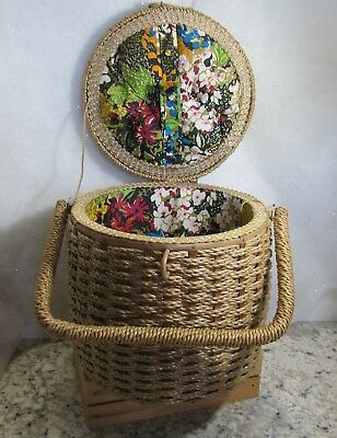 "Vintage  Wicker Sewing Basket Round Woven with Handle  8.5"" H"