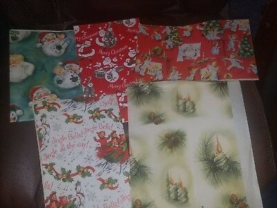 Vintage Small Lot of Christmas Wrapping Paper