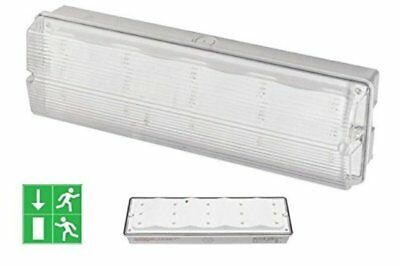 Weatherproof LED Emergency 3w = 8w Bulkhead Non Indoor Maintained Fire Exit IP65