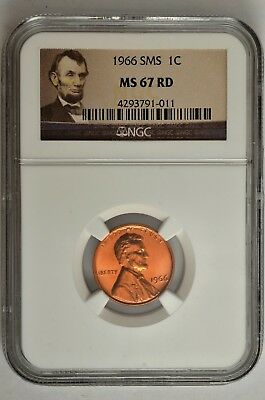 1966 SMS NGC MS67 RD LINCOLN CENT 1c GORGEOUS COLOR /& LUSTER!