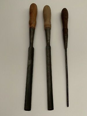 "3 VTG DR barton Woodworking Gouges 3/16"" 9/16"" 5/8"""