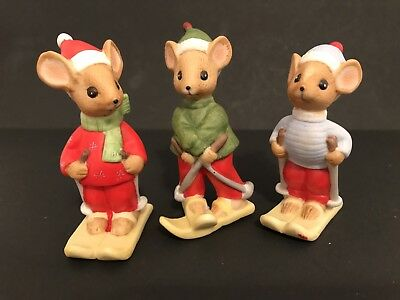 Lucy Rigg Christmas Mice; 3 Skiing Mice; FREE PRIORITY SHIPPING !!