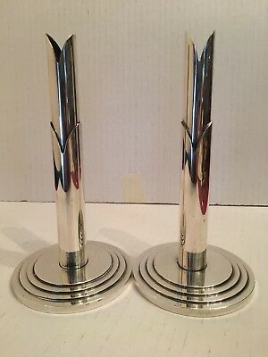 Antique WMF Art Deco Hotel Silver Candlesticks Pair Germany
