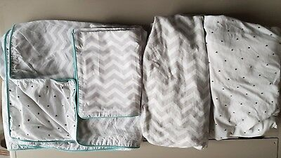 John Lewis Baby Chevron & Stars Cotbed Cotton Duvet Set & Matching Fitted Sheets