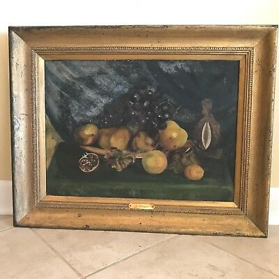 Antique 19th C. Still Life of Fruit Oil on Canvas Painting